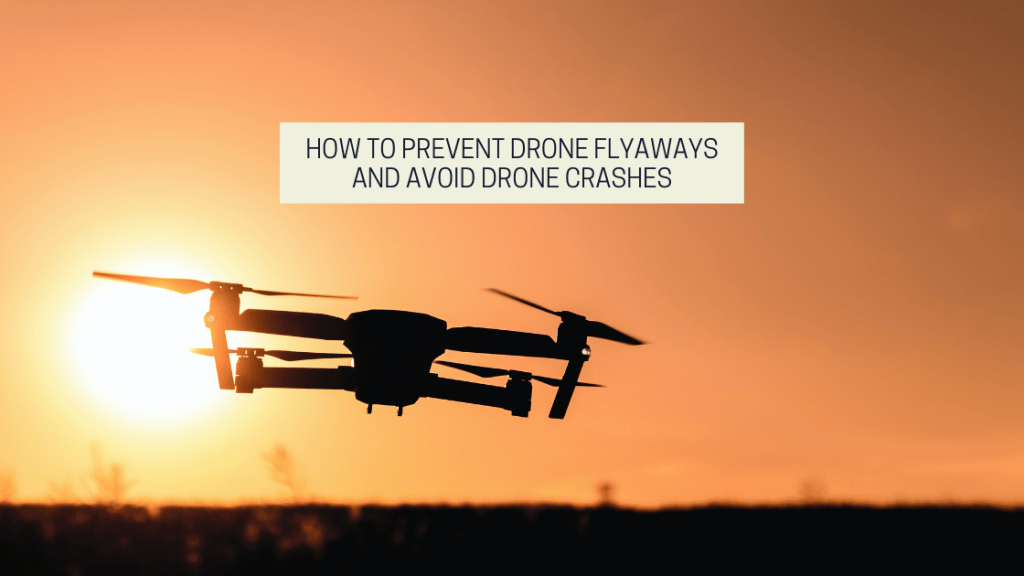 A silhouette of a drone in the sunset. featured image from drone photography bible article titled How To Prevent Drone Flyaways And Avoid Drone Crashes