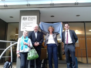 L-R, Caroline Parkes, (Drones APPG) Chris Cole and Mary Dobbing (Drone Wars UK) and Sam Jacobs (Doughty Street Chambers)