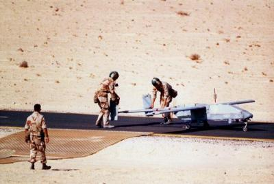US forces ready a Pioneer drone during Gulf War 1991