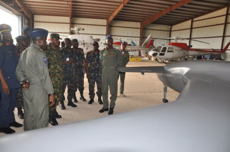 The-Chief-of-Air-Staff-Air-Vice-Marshal-SB-Abubakar-inspecting-Unmanned-Aerial-Vehicle-during-his-operational-Visit-to-75-Strike-Group-Yola