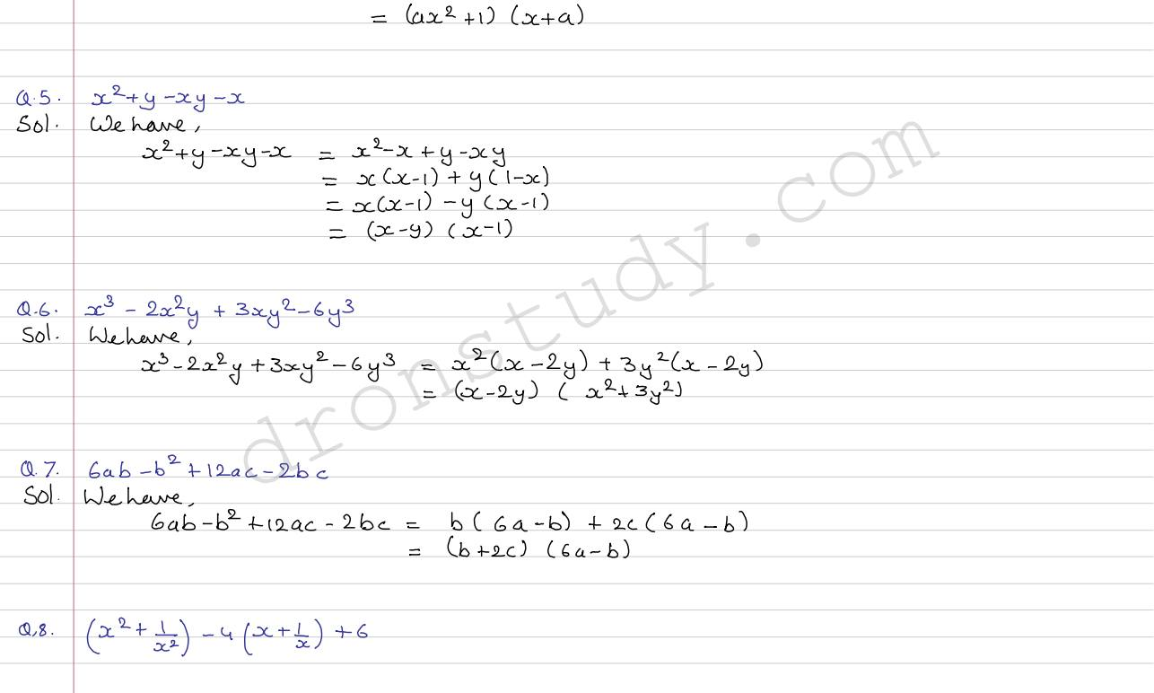 Cbse Class 8 Maths Factorisation Worksheets