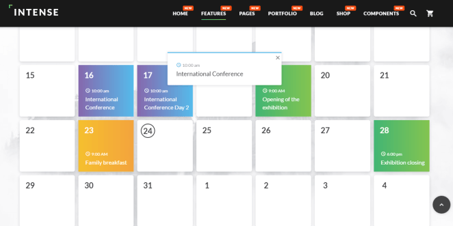 Intense Multipurpose Website Template calendar