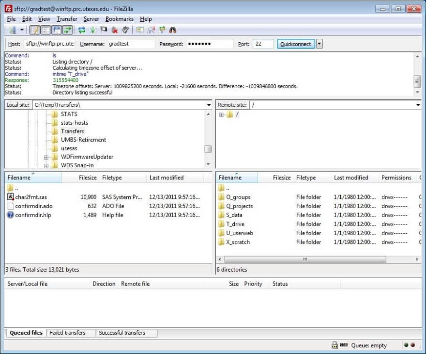 Rysunek 4. Przeniesienie plików za pomocą FileZilla.