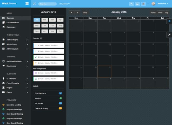 Sekcja Kalendarz