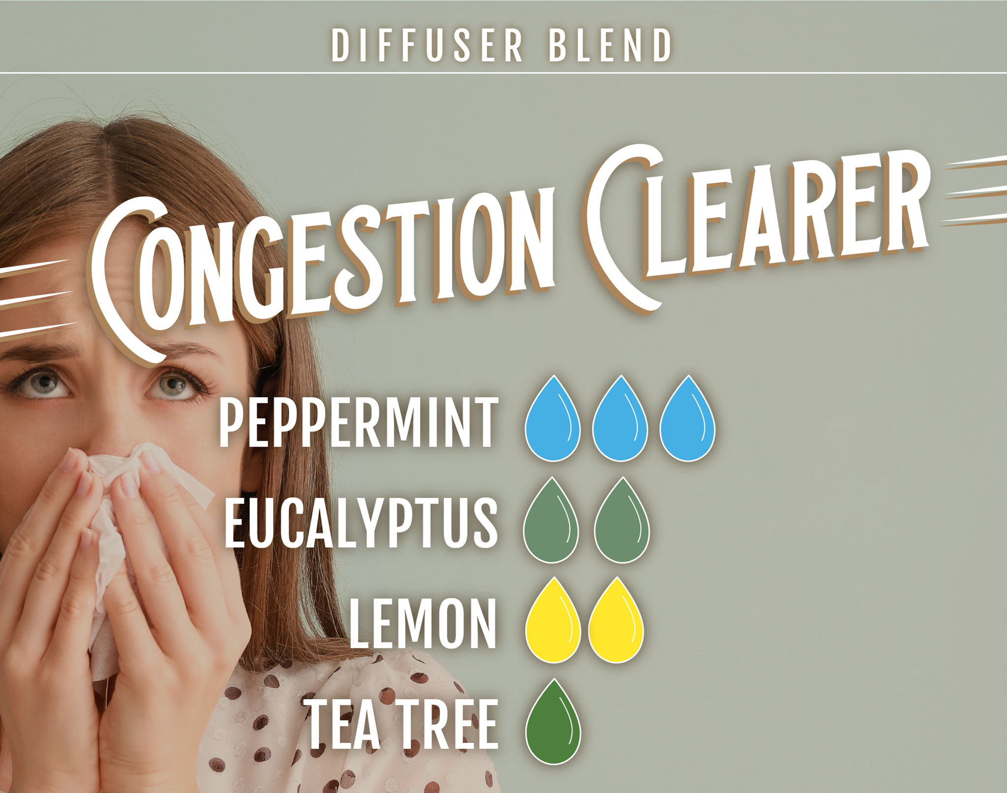 Congestion Clearer Essential Oil (EO) Diffuser Blend: 3 drops peppermint EO, 2 drops eucalyptus EO, 2 drops lemon EO, 1 drop tea tree EO