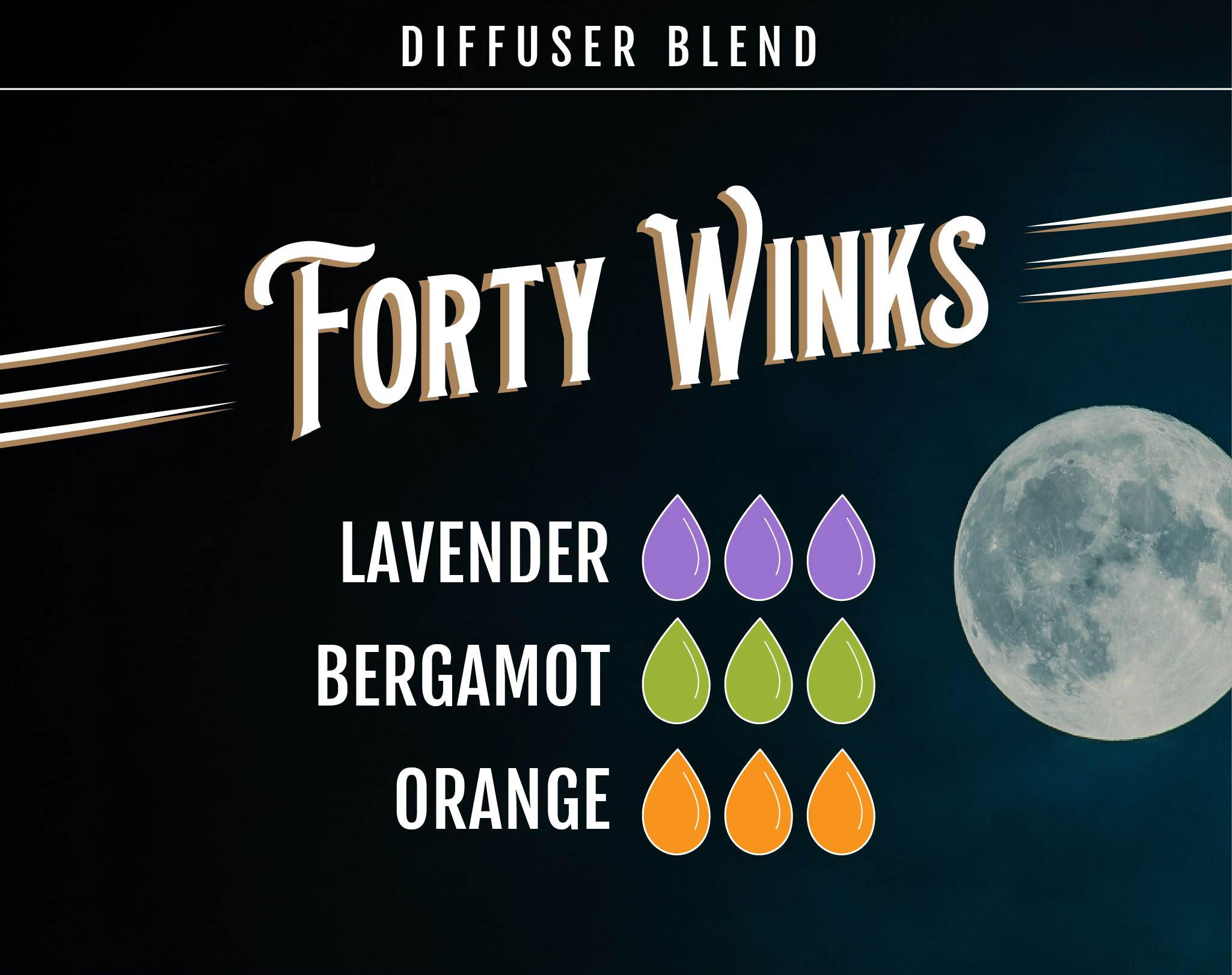 Lavender Essential Oil Diffuser Blend - Forty Winks - 3 drops Lavender, 3 drops Bergamot, 3 drops Orange