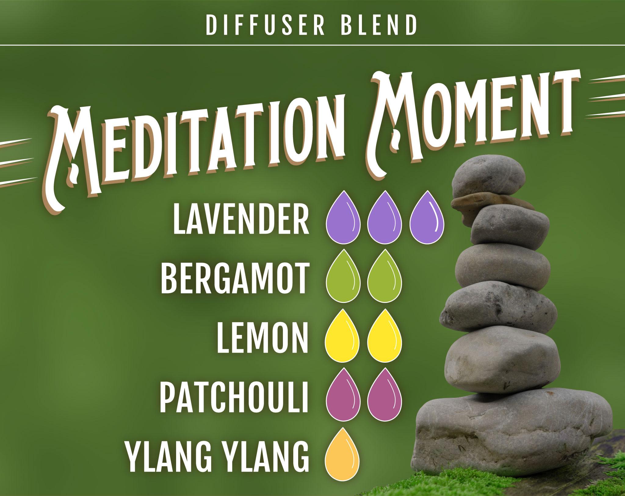 Lavender Essential Oil Diffuser Blend - Meditation Moment - 3 drops Lavender, 2 drops Bergamot, 2 drops Lemon, 2 drops Patchchouli, 1 drop Ylang Ylang