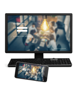 Monitor and smartphone display a website login page