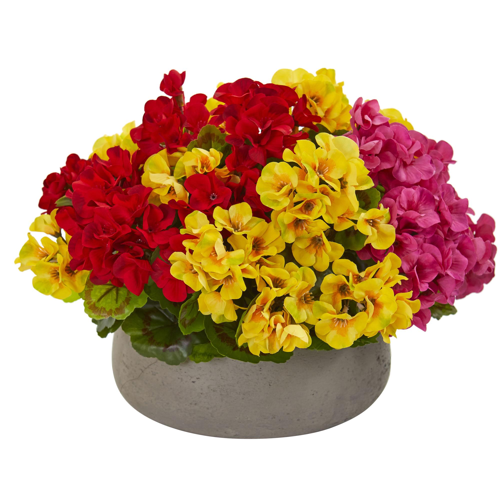 Artificial 12 Geranium Flowers Plant In Decorative Stone