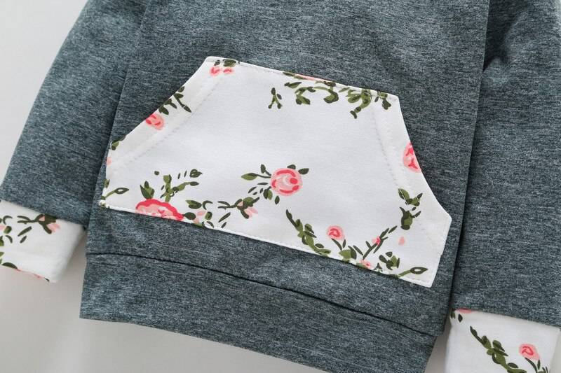 Baby Girl's Floral Hoodie and Pants Set with Headband