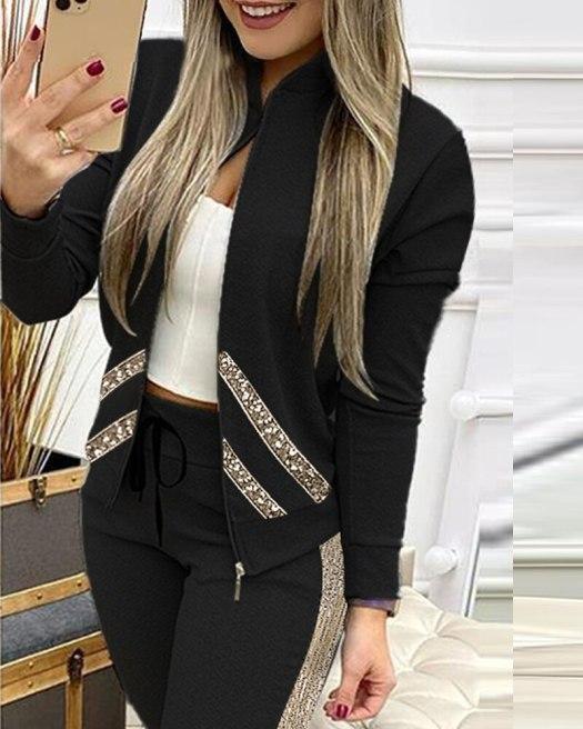 Women's Casual Zipper Tracksuit