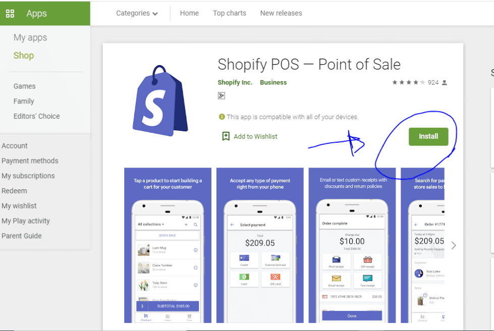 shopify point of sale on google playstore