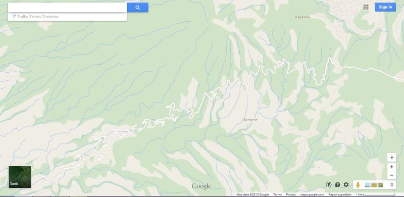 A Google Maps screenshot showing the main road of Flores