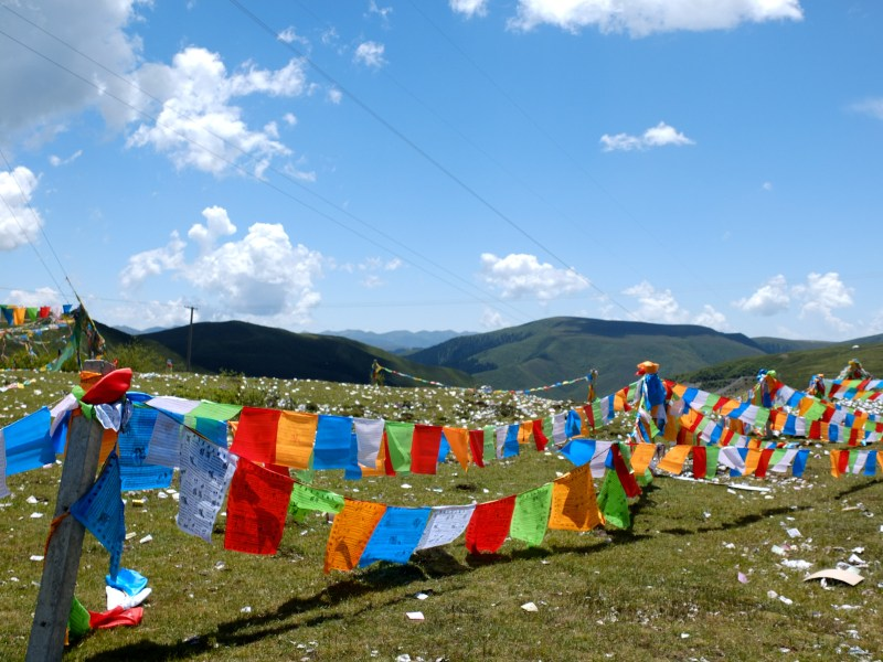 Prayer flags: Tibetan people believe everytime the wind blows a matra is given.