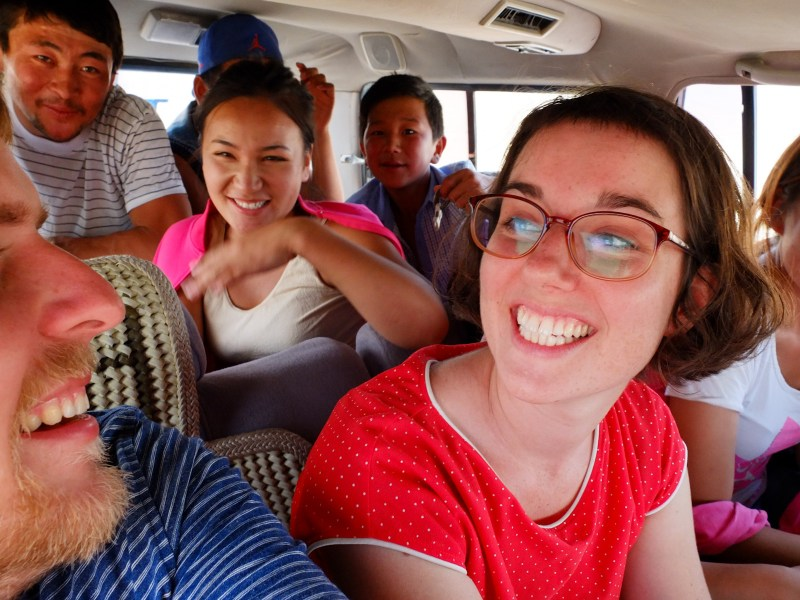 The time a Mongolian family picked us up hitch-hiking, even though they were already 8 people in the car!
