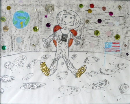 """""""Astronaut on the Moon"""", mixed media, 1983 (age 5). 1st Place in age division, 1984 Siskiyou County Fair."""