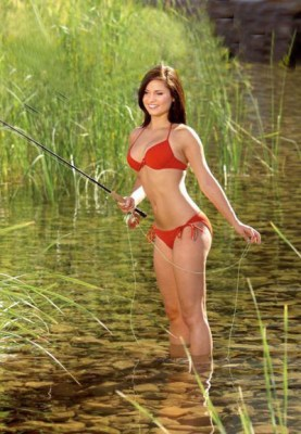 Fly fishing red bikini