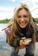 Smiling fishing girl