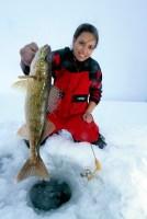 Ice fishing girl
