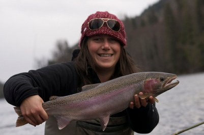 Adrienne Comeau steelhead fishing