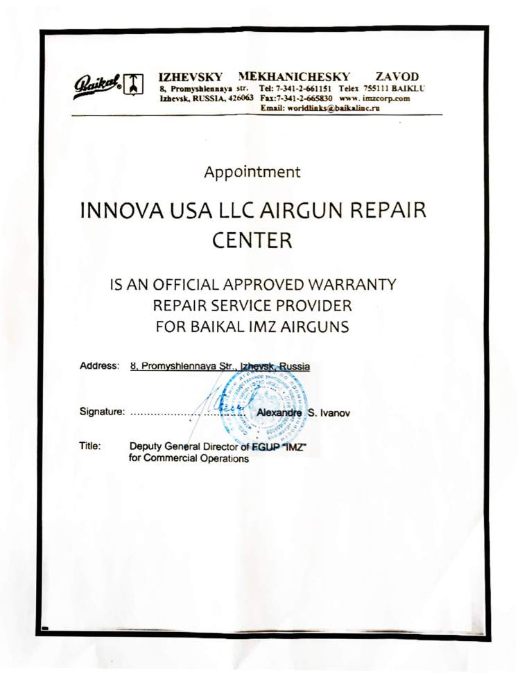 Innova USA LLC is an official approved warranty repair service provider for Baikal Drozd airguns.