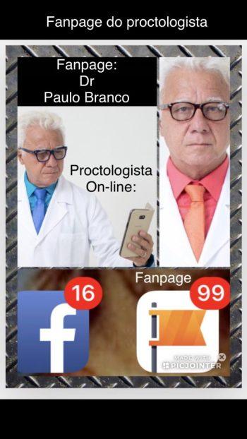 Fanpage do proctologista online de conteúdo educativo focado nas doenças proctologicas tratadas com laser sob anestesia local e sem internação.