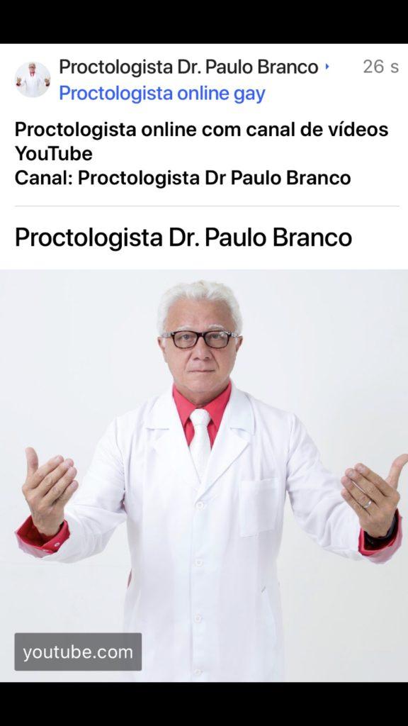Proctologista online com canal de vídeos educativos das doenças proctologicas tratadas com laser