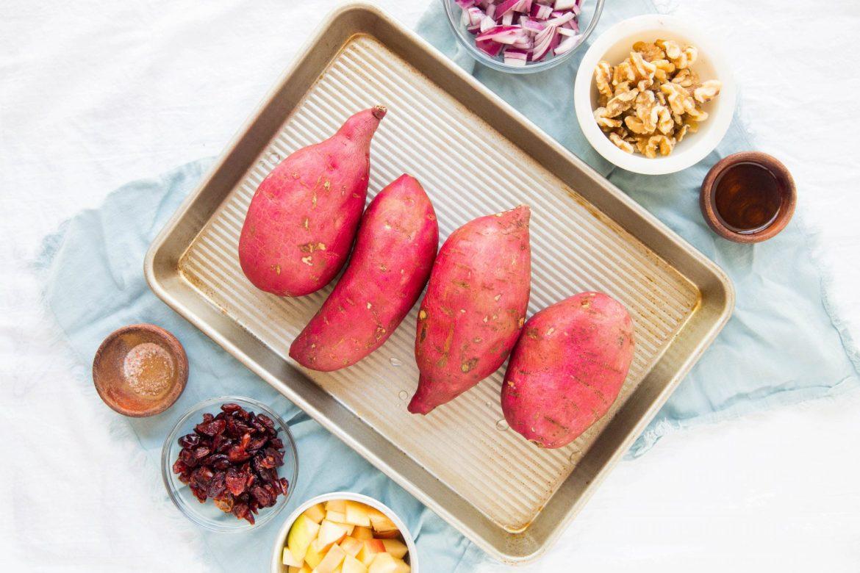 Vegan stuffed sweet potato ingredients - Dr. Pingel