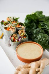 Spring rolls with spicy cashew butter sauce - Dr. Pingel