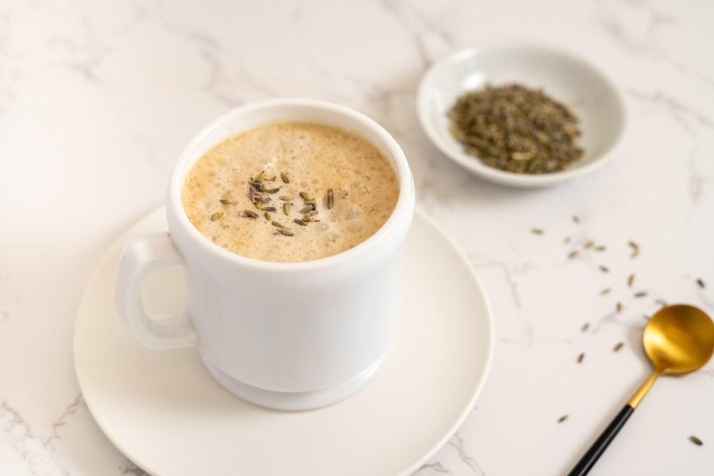 Lavender oat milk latte - Dr. Pingel