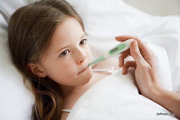 girl suffering from fever