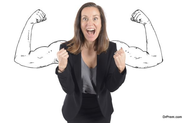 Businesswoman comes to success with inner strength