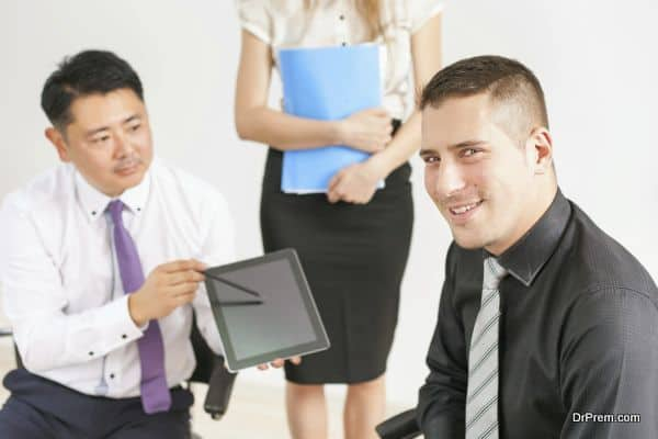 Concept of group business people at meeting in the office