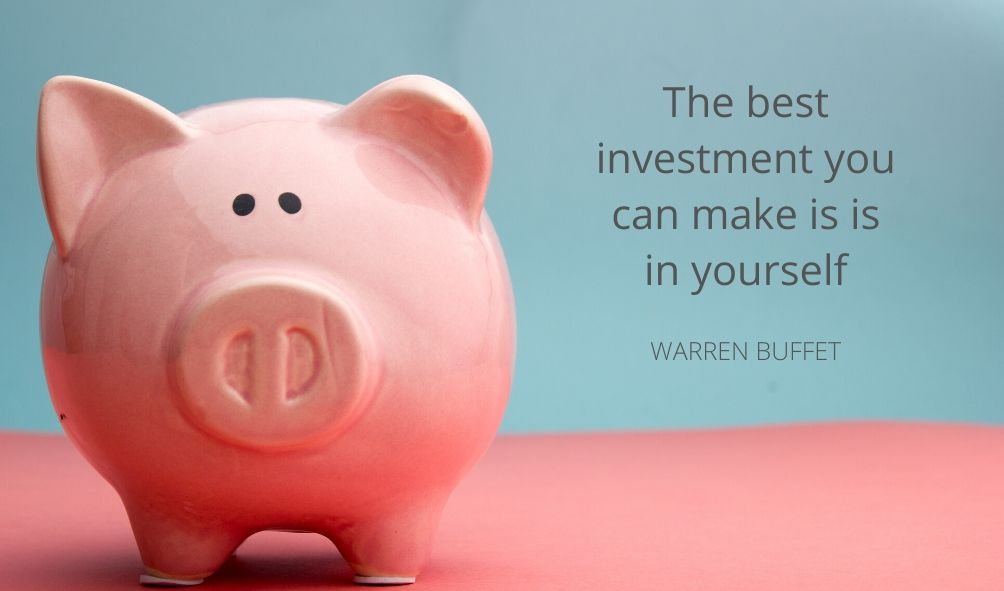 Image of big and quote about the importance of investing in you