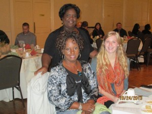 Gwen Brown (top) at NDEAM Awards Luncheon with Carolyn Agee (left) and Dana Ullrich (right)