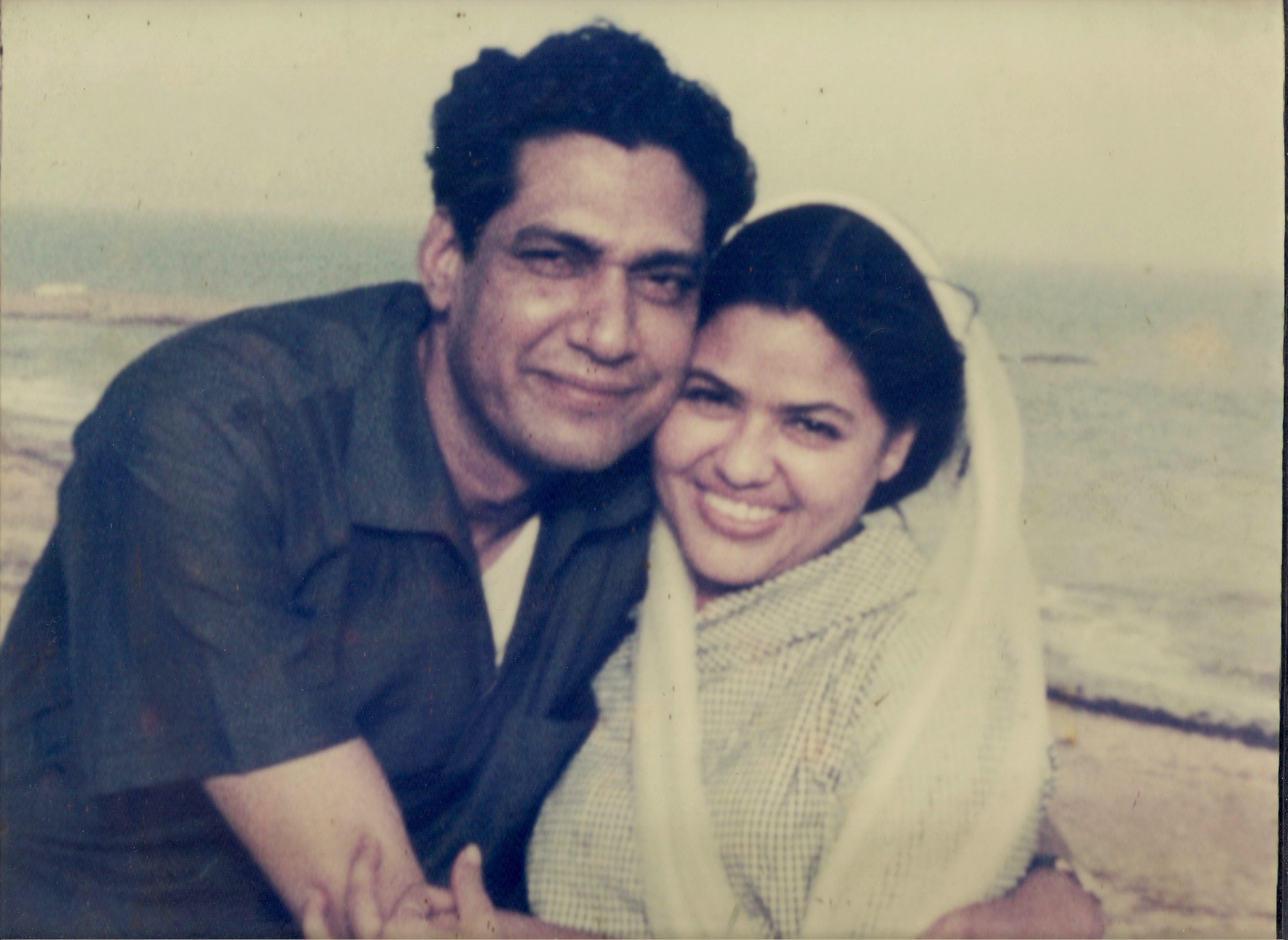 Newly weds at Karachi beach circa 1960s - Zakia & Sarwar