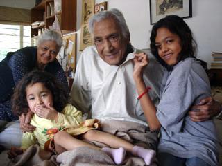 Minal and Maha with Dr Sarwar (Zakia in background), Jan 2009