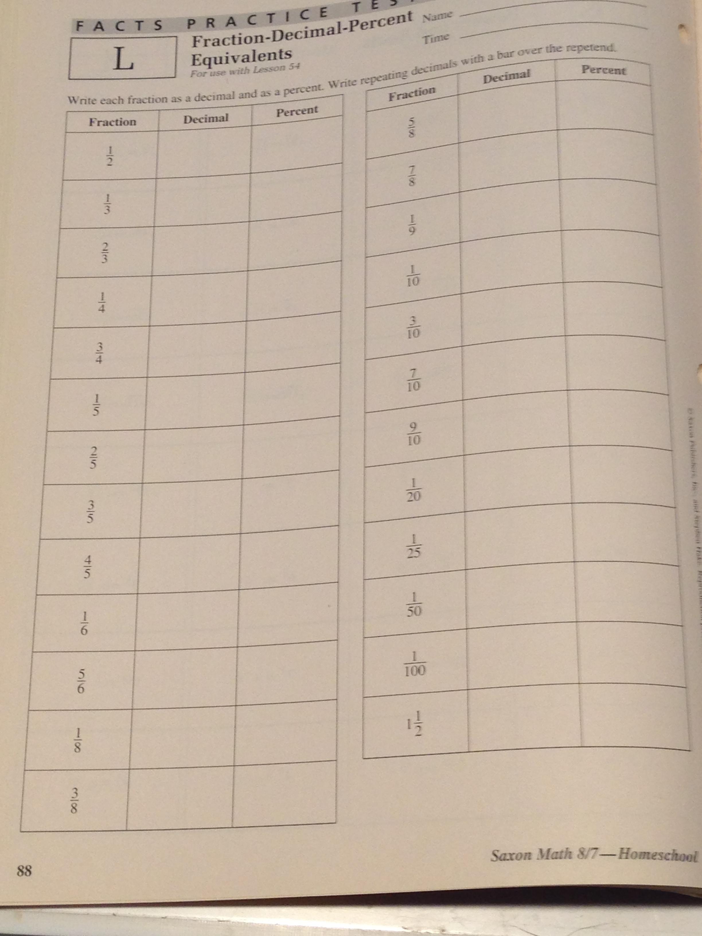 Saxon Math Worksheet For Home Practice
