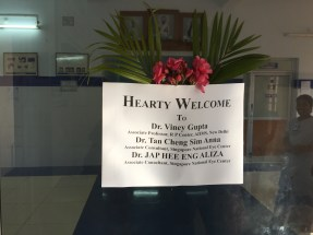 The sign that awaited us on arrival. Anna and Dr. Jap had no idea this was happening.