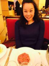 Anna seems a little excited about the steak tartare
