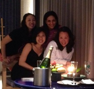 Anna's birthday, back row: Elaine & Roshini. Front row: Pat & Anna
