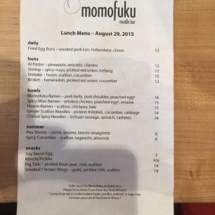 That day's menu