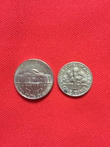 Five cents on the left, a dime on the right.