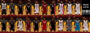 2012-13 Miami Heat from NBA 2k13. The first two are pre-season jerseys, they didn't wear top row last and bottom row last two, but they wore the other 16 uniforms, as well as sleeved jerseys, that season.