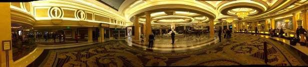 Panoramic shot of the entrance to Caesar's Palace
