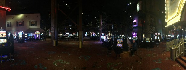 A panoramic shot inside an indoor Wild West Town / Casino