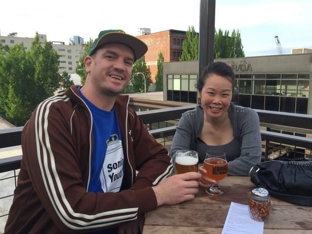 Enjoying a non-epileptic beer.