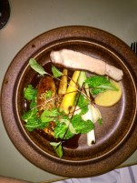 Pork, celeriac, yellow beets, cabbage, and morel sauce