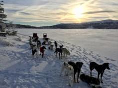 Stopped at a frozen lake