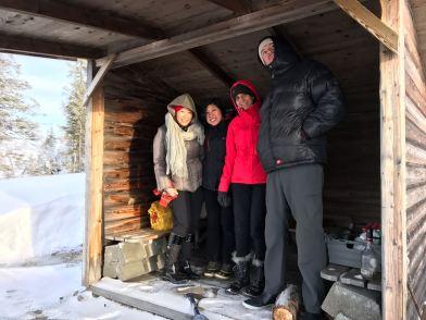 Anna, Pat, Roshini and myself in the hut